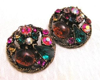 Vintage Weiss Multicolored Rhinestone Earrings. J82