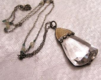 Antique Czechoslovakian Drop Crystal Necklace. J82