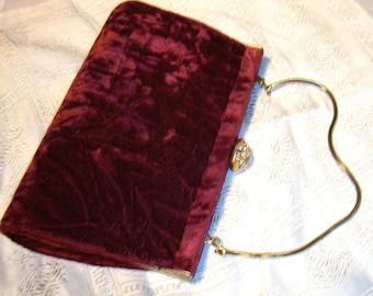 Vintage Burgandy Red Crushed Velvet Clutch Purse.