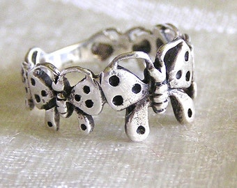 Vintage Sterling Silver Butterfly Ring. J83