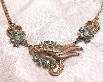 Vintage Blue Rhinestone Necklace 1950s J10