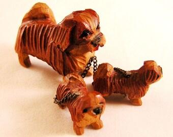 Vintage Anri Carved Wood Pekingese Dog Family