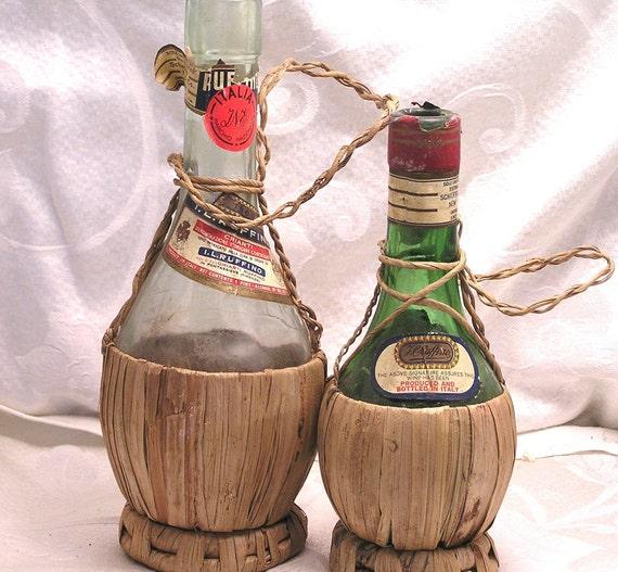 Vintage Wine Bottles Wrapped In Raffia I L Ruffino Chianti
