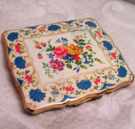 Vintage Stratton Powder Compact with Floral Enamel Design
