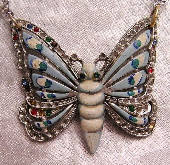 Vintage Pot Metal and Enamel Butterfly Necklace. J106
