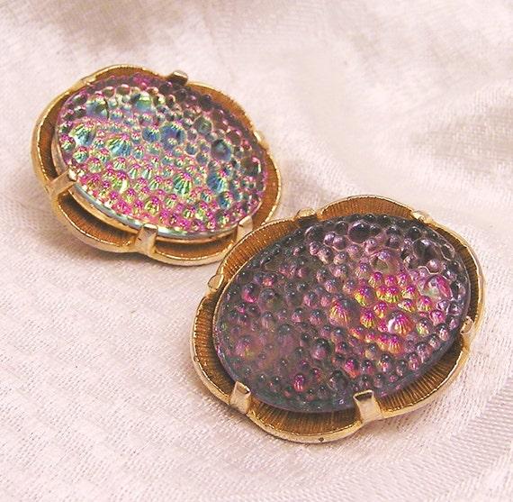 Vintage Iridescent Judy Lee Earrings Pebbley Glass Cabochons J50