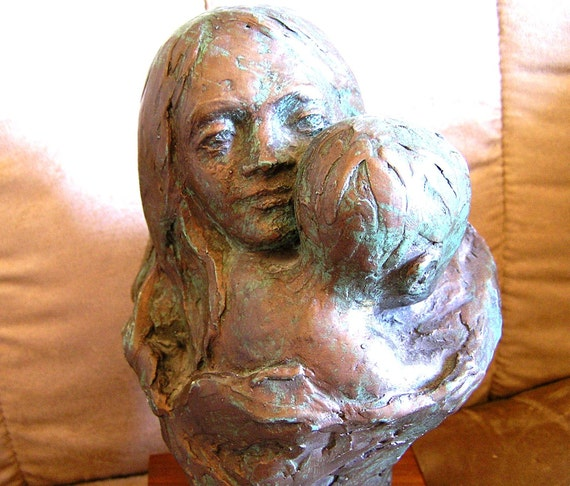 Vintage 1975 Austin Productions Mother and Child Bronzed Statue by Mindy Lee