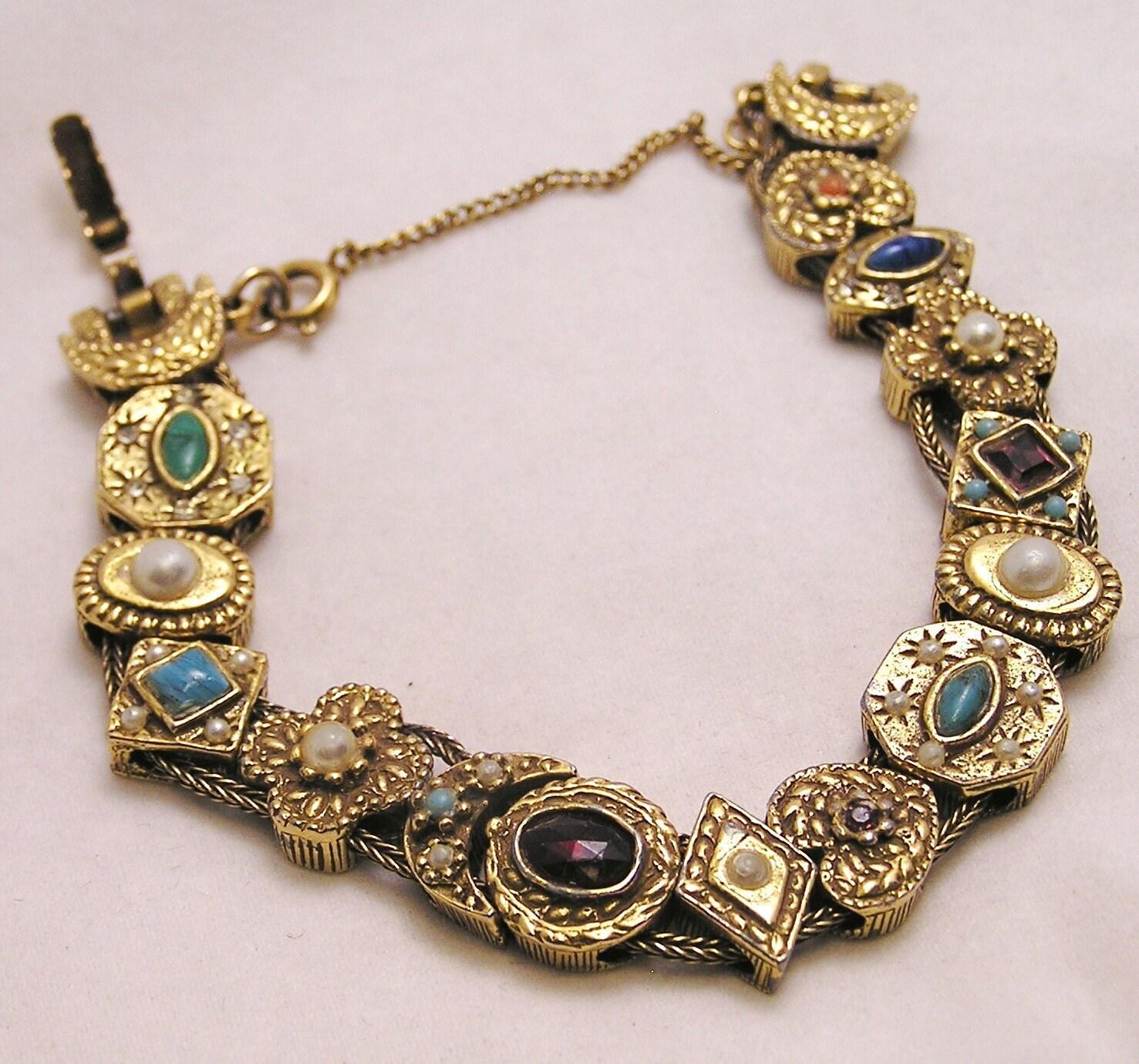 Slide Charms For Bracelets: Vintage Goldette NY Slide Bracelet