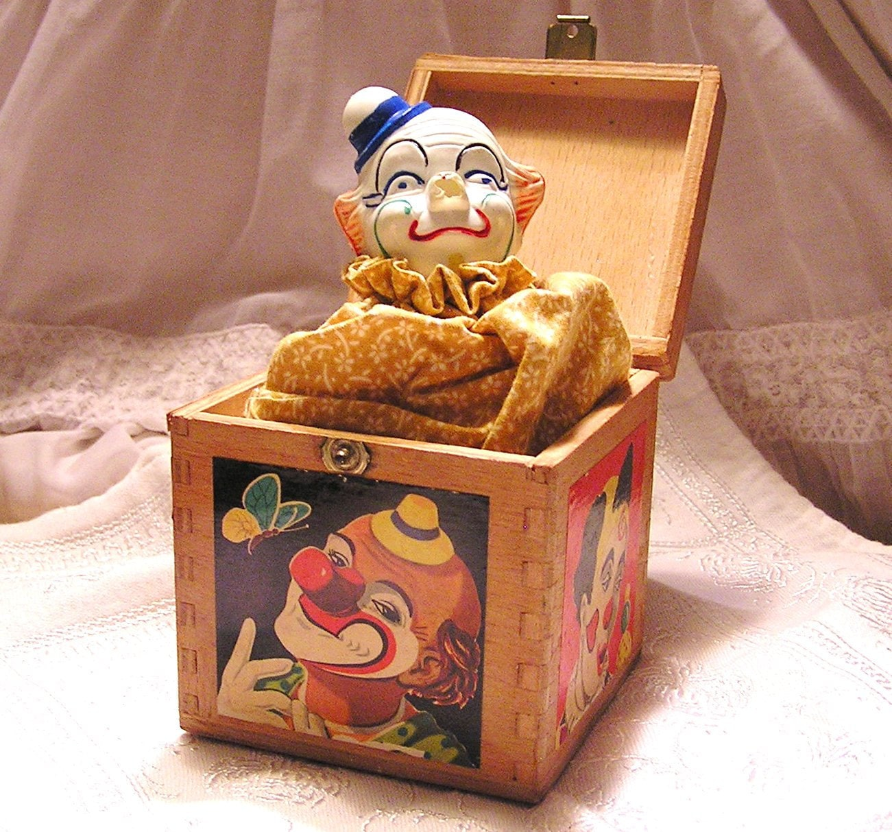 Vintage Clown in Wooden Dovetailed Box. Jack in the Box