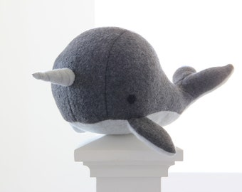 Handmade Grey narwhal  soft fleece plush toy- Charlie-  whale narwal