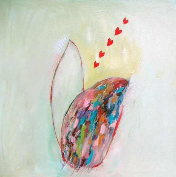 SALE.Venus Fly Trap, Original mixed media abstract on paper