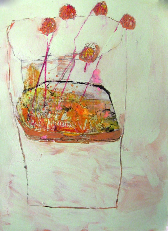 He Gave FLOWERS Original mixed media abstract painting on paper