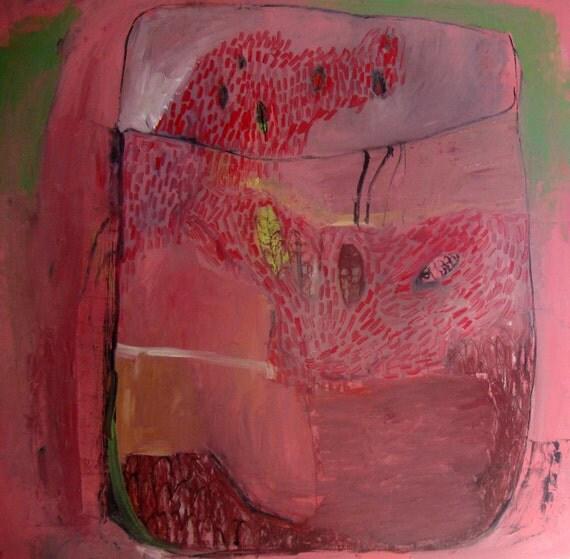 Terrarium in Pink, Original oil painting on canvas