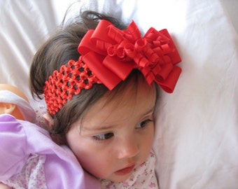 Valentine's Day Red Layered Korker Hair Bow Headband for Infants and Toddlers