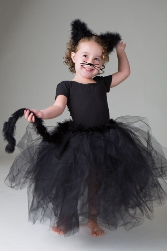 Black Kitty Tutu sewn not tied Including ears this one fits ages 3-6 please convo me for a different size