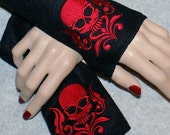 Embroidered Damask Skull Fleece Arm Warmers Red / Black MTCoffinz