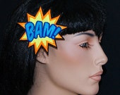 BAM Comic Book Star Burst Words UV GLOW Embroidered Hair Clip MTCoffinz