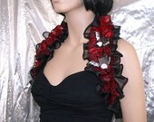 Bright Red Black Embroidered Baby Bat Organza Shoulder Wrap --- ready to ship- MTCoffinz - SALE