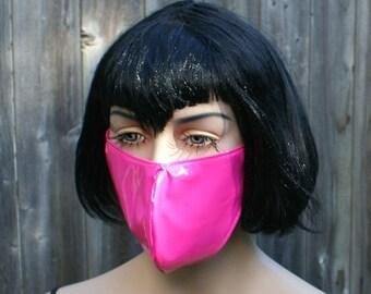 Hot Pink Shiny PVC Mask MTCoffinz - Ready to Ship Closeout