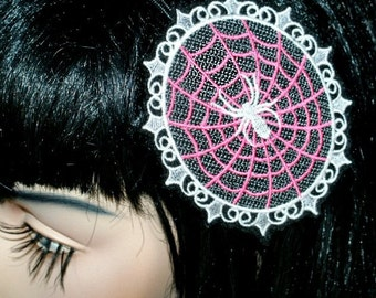 Hot Pink Spider Web Cameo Embroidered Headband MTCoffinz