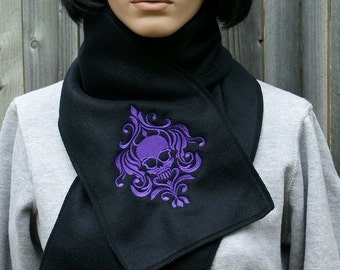 Damask Skull-- Embroidered Scarf -- Choose Any Thread Color