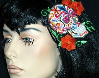 Sugar Skull Day of the Dead Embroidered Headband MTCoffinz