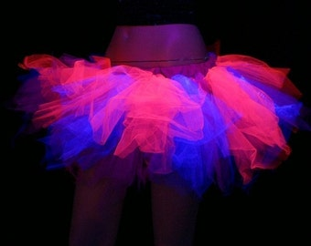 UV Blacklight Pink Purple Cheshire Cat Raver Trashy TuTu adult ALL Sizes MTCoffinz