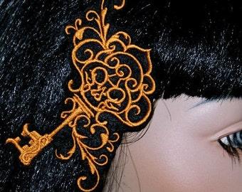 Steam Punk Brass Skeleton Key Embroidered Hair Clip MTCoffinz