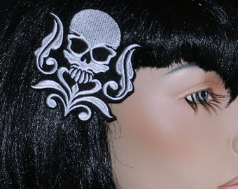 Cyber Skull Damask Embroidered Hair Clip MTCoffinz - Choose Color