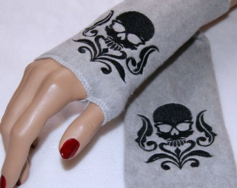 Embroidered Damask Skull Fleece Arm Warmers Black / Gray MTCoffinz