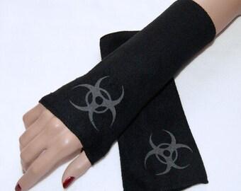 UV Glow in the  Dark Biohazard Fleece Arm Warmers MTCoffinz