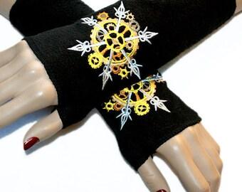 SteamPunk Gold Silver Gears Snowflake Black Fleece Arm Warmers MTCoffinz