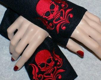 Embroidered Damask Skull Fleece Arm Warmers Red / Black MTCoffinz