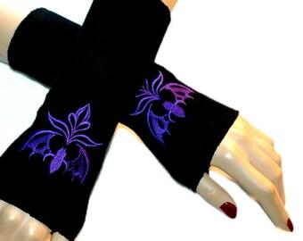 Embroidered Vampire Bat Fleece Arm Warmers Black / Purple  MTCoffinz