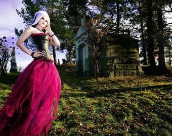 Burgundy Cyber Gothic Formal Alternative Wedding Tulle Skirt all sizes MTCoffinz