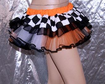 Neon Orange Checkerboard Roller Derby GoGo Mini Tutu Adult all sizes MTCoffinz