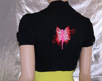Closeout Sale - Neon Pink Fairy Embroidered Black Shrug medium MTCoffinz --- Ready to Ship
