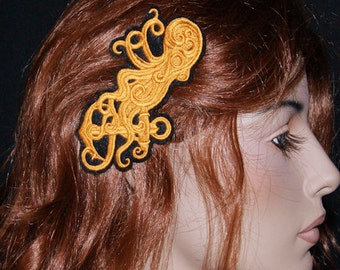 Brass SteamPunk Octopus Embroidered Hair Clip MTCoffinz