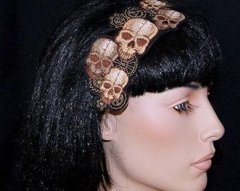 SteamPunk Skulls and Gears Brown Tan Embroidered Headband MTCoffinz