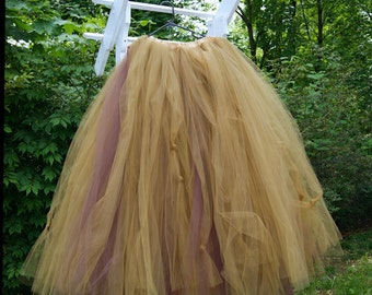 Antique Gold and Brown SteamPunk Formal Wedding Skirt all sizes MTCoffinz