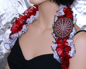 Spiderweb Cameo Embroidered Lace Ruffles Shoulder Shrug Embroidered Wrap MTCoffinz --- ready to ship