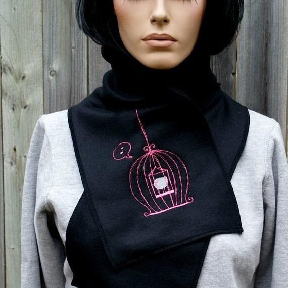 Birdcage- Embroidered Fleece Scarf  Pink / Silver MTCoffinz