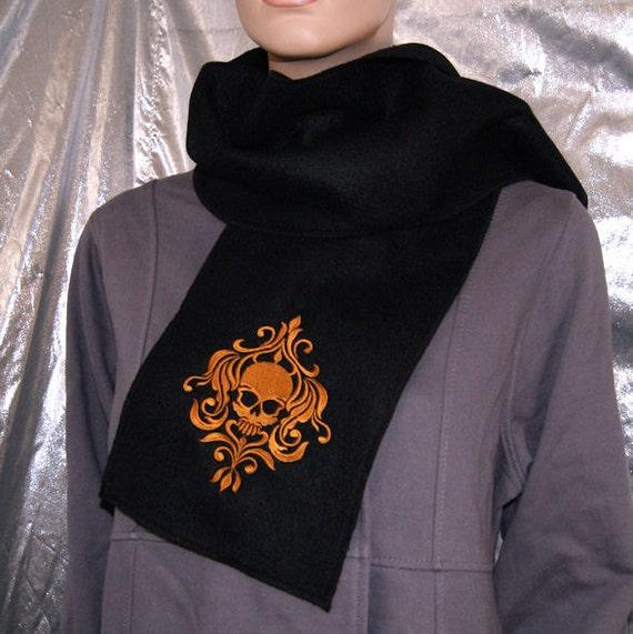 SteamPunk Damask Skull-- Embroidered Fleece Scarf Brass / Black MTCoffinz --- ready to ship