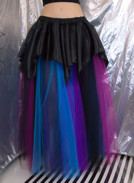 Turquoise, Fuchsia, Bright Purple, Black Striped Alternative Bridal Tulle skirt floor length skirt MTCoffinz -- Ready to ship
