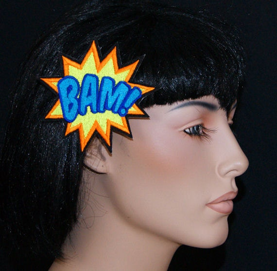 BAM Comic Book Star Burst Words UV GLOW Embroidered Hair Clip MTCoffinz