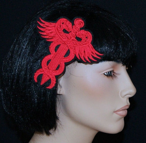 Red Medical Snakes Staff Symbol Embroidered Hair Clip MTCoffinz