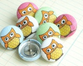 Owls Nest...Tack Pack of 8. Fabric Push Pins. Gift tin