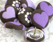 Hearts and Flowers...Tack Pack of 8. Fabric Push Pins