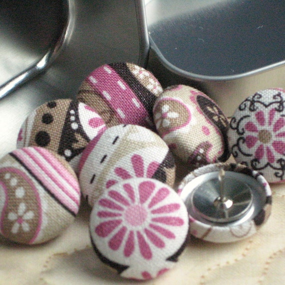 Mocha Raspberry...Tack Pack of 8. Fabric Push Pins