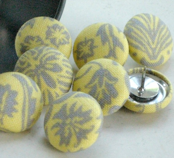 Sunshine...Tack Pack of 8. Fabric Push Pins. Wedding Board Thumbtacks